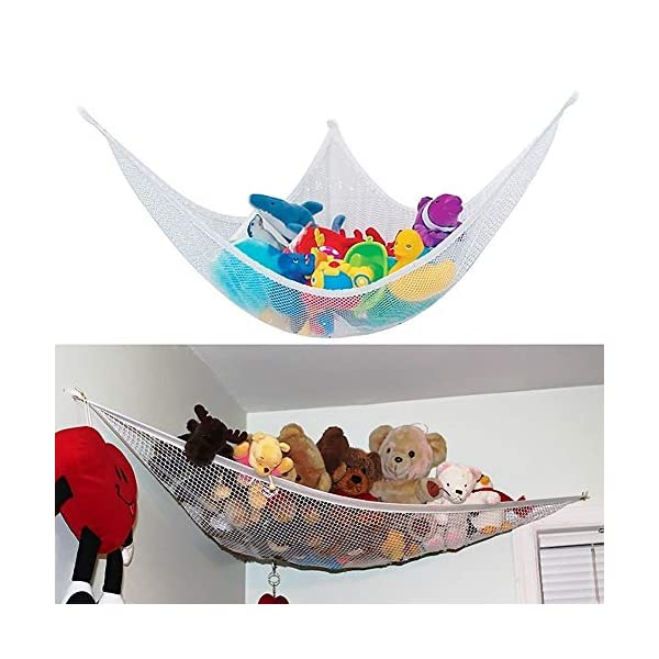 Ruiting Children Toy Hammock 80 * 60 * 60cm Stuffed Toy Storage Net Organizer with 3 Sucker Kids Toy Storage Hammock Ruiting Versatility - Our toy storage net offers you unlimited storage solutions for stuffed animals, plush toys, balls, towels, blankets, bedding, yoga mats, light sport equipment and other collectibles or keep all pool accessories organized in your pool shed. 100% MONEY BACK GUARANTEE: In order to give you a better customer experience we promises a full refund to any dissatisfied customers. High Quality: Made with extra strong, heavy-duty elastic edge for tighter, customizable fit. Great storage solution for any room in your house. 8