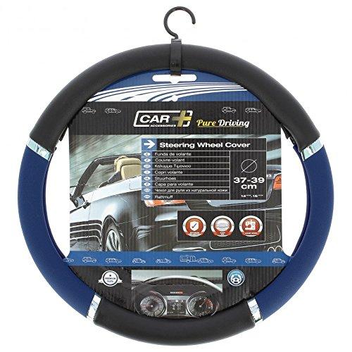 HABILL-AUTO Couvre Volant PVC Speed Bleu-Noir Car+ pour Volant 37/39cm