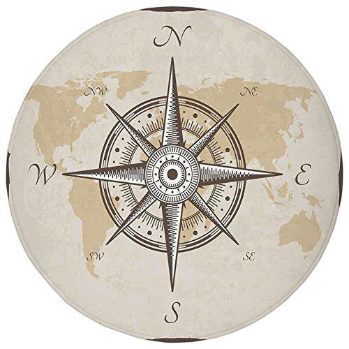 vercxy 1,97FT Runde Teppich Mat Teppich, Kompass Decor, nautisches Kompass auf Hintergrund von Old Map mit Torn Bordüre Rahmen Illustration...