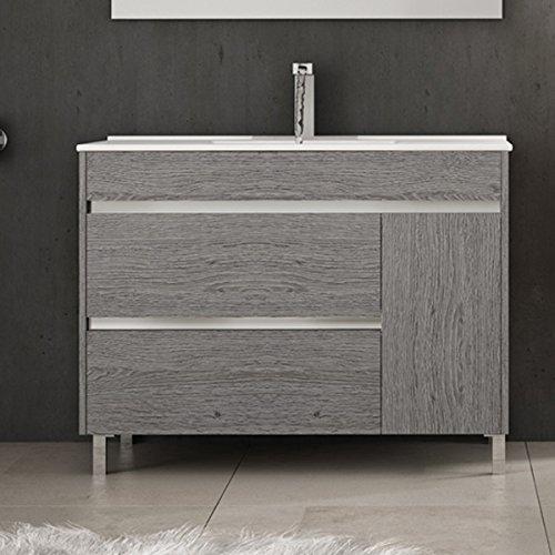 Ducha.es set 2pezzi hémera-mueble bagno e piano in ceramica 100cm rovere grigio cenere