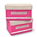 Vovoly Set von 2 Aufbewahrungsboxen mit Deckel, Aufbewahrungsbehälter aus Baumwollgewebe, Faltbare Aufbewahrungsbox Kleiderdecke für Kleidung / Bücher / Spielzeug / DVDs / Kunst und Handwerk / Wäsche Wäscherei Organisation (Pink, 2 Pack)