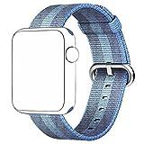 pour Apple Watch Series 1/2/3 42mm, Bracelet Nylon Tresse Band Remplacment - 240mm (Bleu)