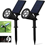 Solar Lights,Solar Spotlights, 2-in-1 Adjustable In-Ground Light Landscape Wall Light Waterproof Security Light for Outdoor Yard Garden Lawn - Auto-On / Off - The 3rd Gen 2 pack