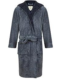 Robe de Chambre en Polaire Doux à Capuche, Chaud, Bleu Chiné - Homme