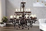 Riesiger Kronleuchter schwarz 15-armig Königlicher Lüster