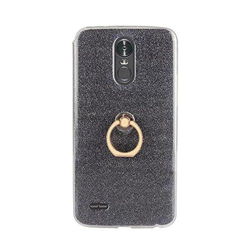 Soft Flexible TPU Back Cover Case Shockproof Schutzhülle mit Bling Glitter Sparkles und Kickstand für LG STYLUS 3 und K10 Pro ( Color : Pink ) Black