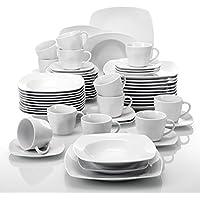 Malacasa, serie Julia, vajilla de porcelana Juego de café vajilla completa con 12 tazas de café, 12 platillos, 12 platos de postre, 12 platos de sopa y 12 platos plano para 12 personas