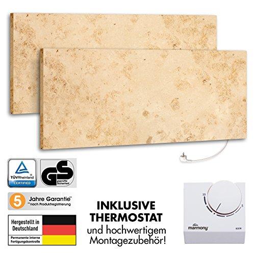 2er Pack Marmony M800 Jura mit Thermostat Marmor Infrarot-Heizung aus Naturstein mit Montagematerial, steckerfertige Wandheizung zum Aufhängen