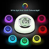 Albrillo LED Atmosphäre-Lichtwecker mit 7 Farbewechsel, Multifunktional als Nachtlicht, Uhr, Wecker nutzbar