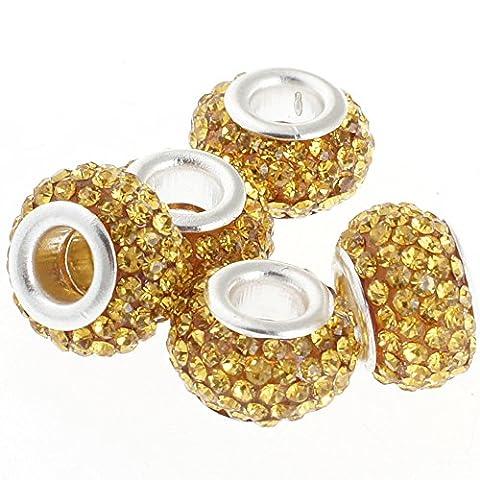 Rubyca gros trous 11mm cristal Charm perle pour bracelet charms européens, Amber Gold, 100 PCS