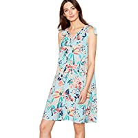 3156184c5385 Mantaray Womens Light Blue Tropical Print V-Neck Mini Dress