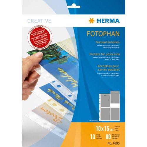 Herma 7695 Postkartenhüllen (Folie, 10 x 15cm) 10 Blatt, transparent