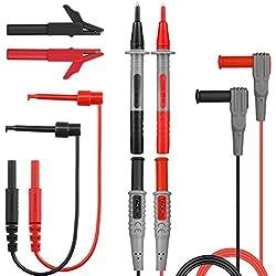 Sondes de Multimètre, TACKLIFE METL04 8 Pièces de Câble de Multimetre, Kit de Fil de Test pour Multimetre et Pince Ampèremétrique/Mini Pince crocodile et Mini-crochet Inclus