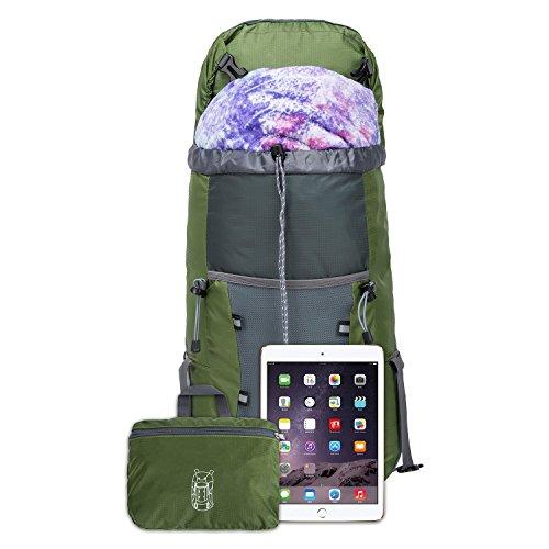 35L Tagesrucksack Faltbare Rucksack mit Wanderrucksack Fassungsvermögen aus Strapazierfähigem Nylon Daypack Unisex Armee-Grün