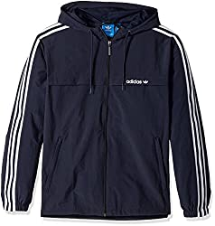 adidas Originals Mens 3 Stripe Windbreaker, Legend Ink, XX-Large
