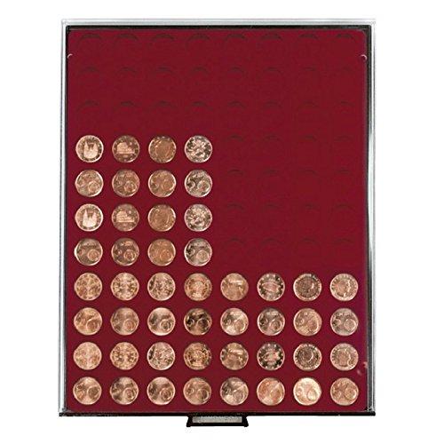 Münzbox mit 88 Vertiefungen á 21,5 mm Ø für lose Münzen (Lindner 2910) Rauchglas (Schuber in Rauchglas, dunkelrote Veloureinlage)