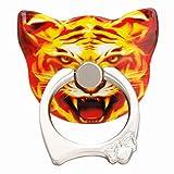 Tiaobug Universal Aufkleber Ring Standplatz Handy Halter 360 Grad Drehbar Metall Smartphone Griff Ring Finger Grip Handy Ständer Halter Halterung Tiger One Size