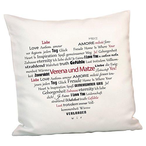 Geschenke 24: Persönliches Kissen Herz aus Worten – personalisiertes Kuschelkissen mit Namen gestalten – EIN schönes Romantikgeschenk für Männer und Frauen
