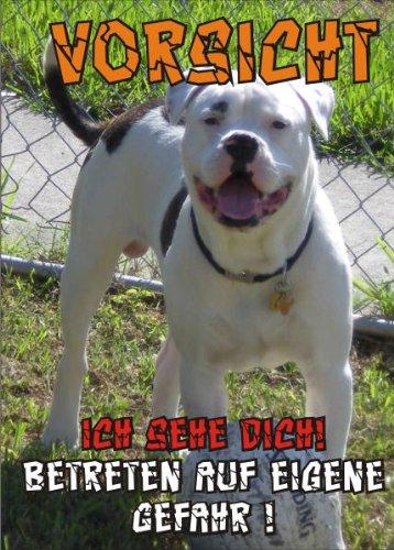 INDIGOS UG - Türschild FunSchild - SE112 DIN A4 ACHTUNG Hund AMERICAN BULLDOG - für Käfig, Zwinger, Haustier, Tür, Tier, Aquarium - aus hochwertigem Alu-Dibond beschriftet sehr stabil