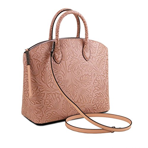 58c0344048a02 Tuscany Leather Gaia Shopper Tasche aus Leder mit Blumenmuster Grey Nude ...