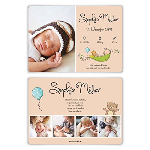 60 x Geburtskarten Babykarten Geburt Baby individuell Mädchen Junge - Teddybär
