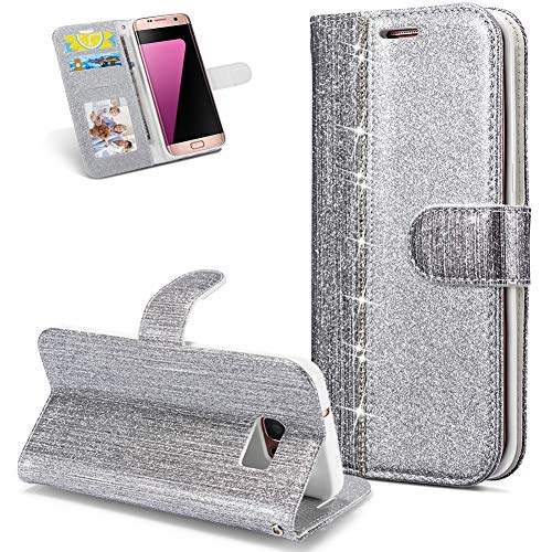 Huphant kompatibel mit Samsung Galaxy S7 Edge Handyhülle Glitzer Leder Hülle Wallet Flip Schutzhülle Tasche mit Samsung Galaxy S7 Edge Kartenfach Geldklammer Ständ Kartenfächer Magnet -Diamant silber