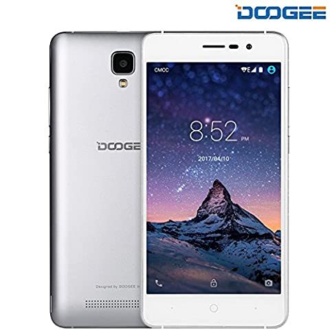 SIM Free Mobile Phones, DOOGEE X10 Dual SIM Unlocked Smartphones, 3G 6.0 Android Phone with 5.0 Inch IPS Screen - 3360mAh Large Capacity Smartphone - 5MP Camera with Flash - MT6570 cortex-A7@1.3 GHz - 8GB ROM - Silver
