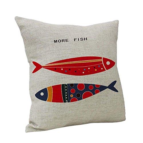 Kissenbezug Kissenhülle 45x45 cm Ronamick Fisch Vintage Baumwolle Leinen Dekokissen Fall Kissenbezug Home Sofa Decor (C) -