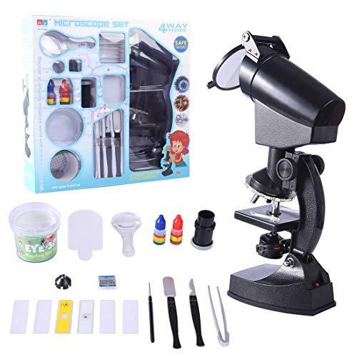 iVansa Kinder Mikroskop Set, 300X-600X-1200X mit Zubehör, Handkoffer Lernmikroskop Einstiegs-Mikroskop, Die Mikrowelt Erkunden
