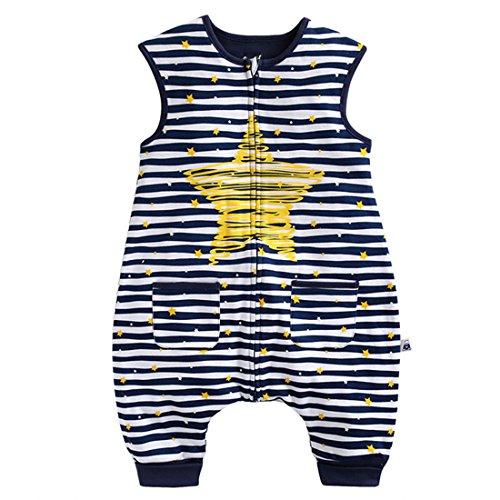 GWELL Kinder Neuartig Sterne Schlummersack Schlafsack mit Beinen Füßen Strampler aus Baumwolle Schlafstrampler für Baby Jungen Mädchen Blau 100 M