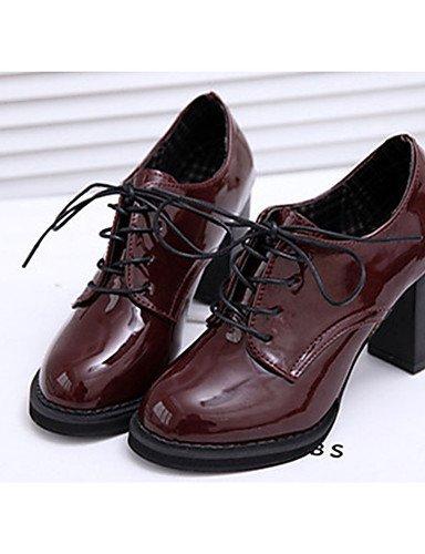 WSS 2016 Chaussures Femme-Décontracté-Noir / Bordeaux-Gros Talon-Talons-Chaussures à Talons-Cuir Verni black-us5.5 / eu36 / uk3.5 / cn35