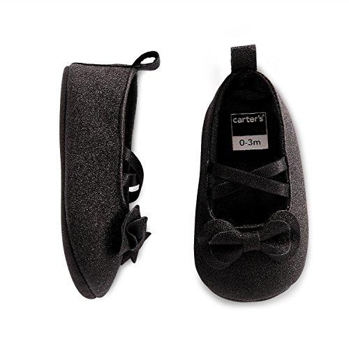 Carter's Girls' Soft Sole Mary Jane Dress Crib Shoe, Black Shimmer, 3-6 Months US Infant
