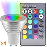 Aurox GU10 4W LED Spotlight Beautiful RGB Color Changing Lights Bulb,120°Beam Angle,16 Colour Changing Lights with 24 Keys Remote Control,for Home Decoration, Bar, Landscape, Bedroom, Living Room, Track Lighting,Pack of 4
