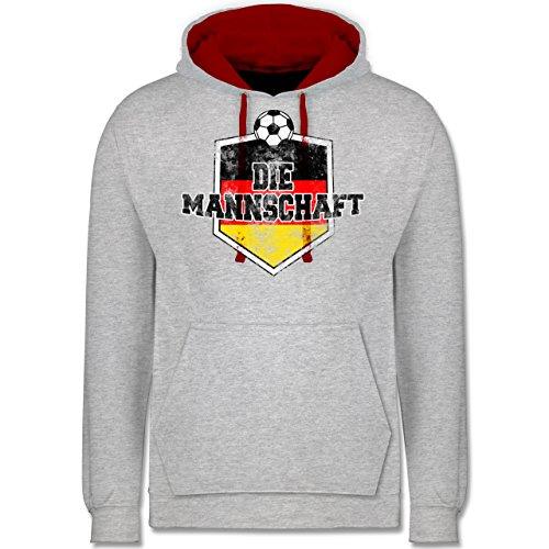 Fußball-WM 2018 - Russland - Deutschland- Die Mannschaft Vintage - Kontrast Hoodie Grau Meliert/Rot