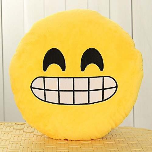 OEO Emoji Smiley Emoticon Giallo Rotonda Cuscino Imbottito Peluche
