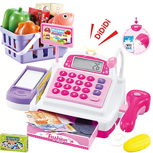 SONiKi Cash Register Pretend Play Supermarket Shop ToysWith Calculator ,Working Scanner,Credit Card ,Play Food ,Money and more Size-25*14*12cm/9.8*5.5*4.7in(Color May Random)