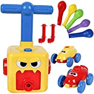 Balloon Car Toy with Mini Plastic Hand Push Inflatable Balloon Pump Air Powred Car Set, Science Experiment Int