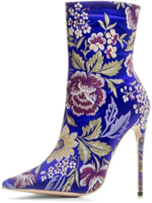 QPYC Femmes Satin Dames Fine Talon Pointu Satin Femmes Talons Hauts Side Zipper Floral Martin Bottes Bottes CourtesB0789MC4Z7Parent 41a58e