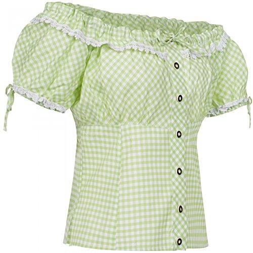 PAULGOS Trachtenbluse Kariert in 7 Farben Gr. 34-50 Carmenbluse, Damen Größe:44, Farbe:Hellgrün