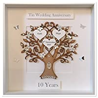 Personalised 10 Years 10th Tin Wedding Anniversary Family Tree Picture Frame Gift