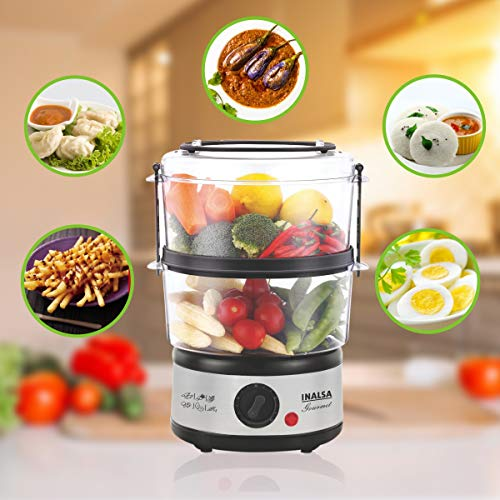 Inalsa 5L Gourmet Multi-Function 500W-Food Steamer & Egg Boiler with LED Indicator,BPA-Free 2 Tier Stackable Baskets,Stainless Steel Base ,Auto-Stop & Dry Run Protection,Fits 14 Eggs In One Go (Black/ Silver)