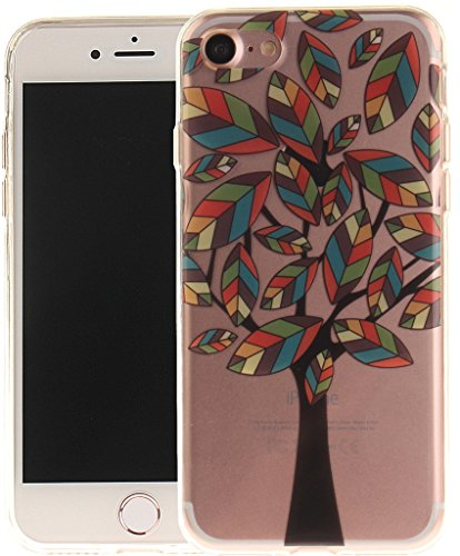 Nnopbeclik [Coque Iphone 7 Silicone ]Transparente élégant Style de Impression Couleur Motif Doux Backcover Case Housse pour Iphone 7 Coque Apple (4.7 Pouce) Protection Antiglisse Anti-Scratch Etui - [ arbre7