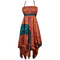Flora Women Sundress Printed Handkercheif Hem Uneven Upcycled Silk Sari Boho Beach Halter Dress S/M