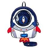 JiePai Sac à Dos pour Tout-Petits avec Laisse de Harnais,Sac à Dos Rocket pour Enfants pour Le Jardin d'enfants/Enfants D'âge Préscolaire(Fusée-Bleu)
