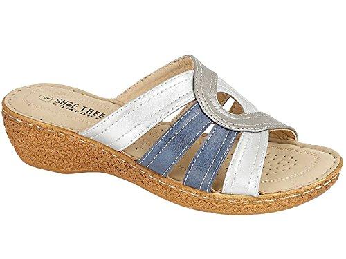 foster-footwear-retro-aperto-donna-multicolore-navy-silver-38-eu