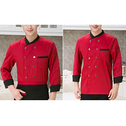 Zhhlaixing Comfortable Unisex Long Sleeve Button Jacket Chefs Uniform Top 3 Colors red