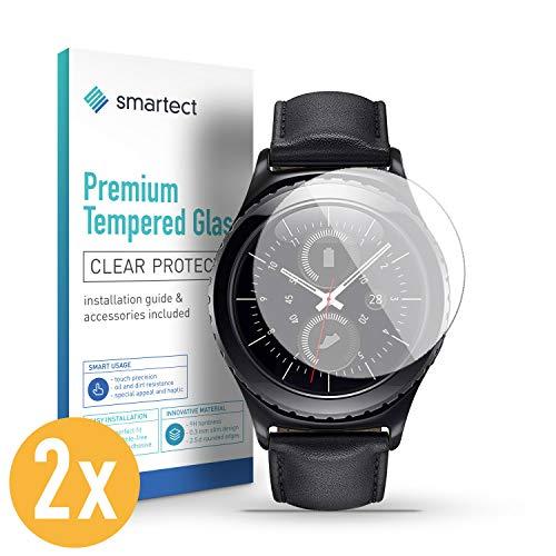 smartect Panzerglas für Samsung Gear S2 Classic/Sport [2 Stück] - Bildschirmschutz mit 9H Härte - Blasenfreie Schutzfolie - Anti Fingerprint Panzerglasfolie