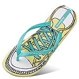 Hausschuhe WYQLZ Kreative Frauen Flip-Flops Mode Sommer Outdoor Rutschfeste Strand Casual Sandalen Klippzehe Flache Schuhe Persönlichkeit Trend Dicke Soft Bottom (Farbe : Blau, größe : 41 EU)