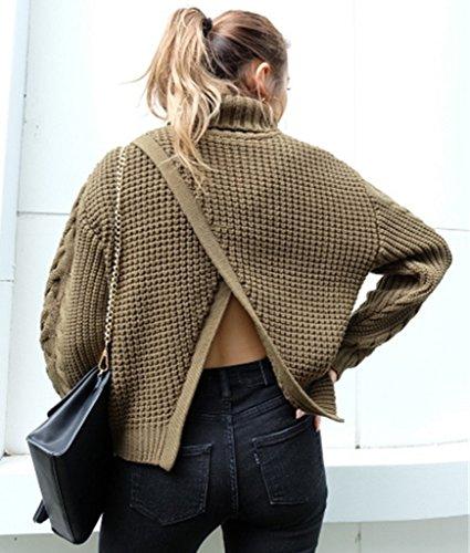 Bigood Femme Casual Pulls Uni Manteau en Tricot Dos Avec Culotte Sweater Loose Haute Col Vert