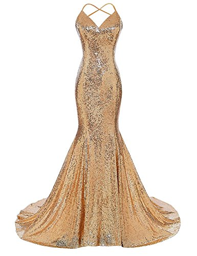 BeiQianE V-Neck Meerjungfrau Langes Kleid Sparkly Pailletten Backless Formale...